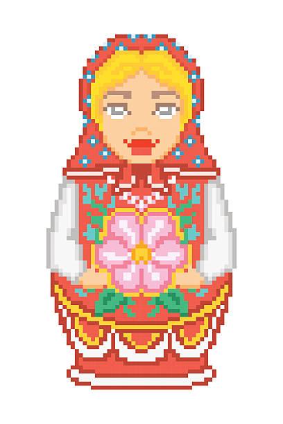 pixel art traditional national russian matryoshka doll icon - landgastgeschenke stock-grafiken, -clipart, -cartoons und -symbole