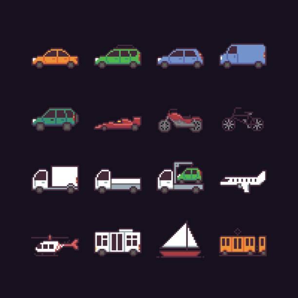 pixel-kunst-transport - gepixelt stock-grafiken, -clipart, -cartoons und -symbole