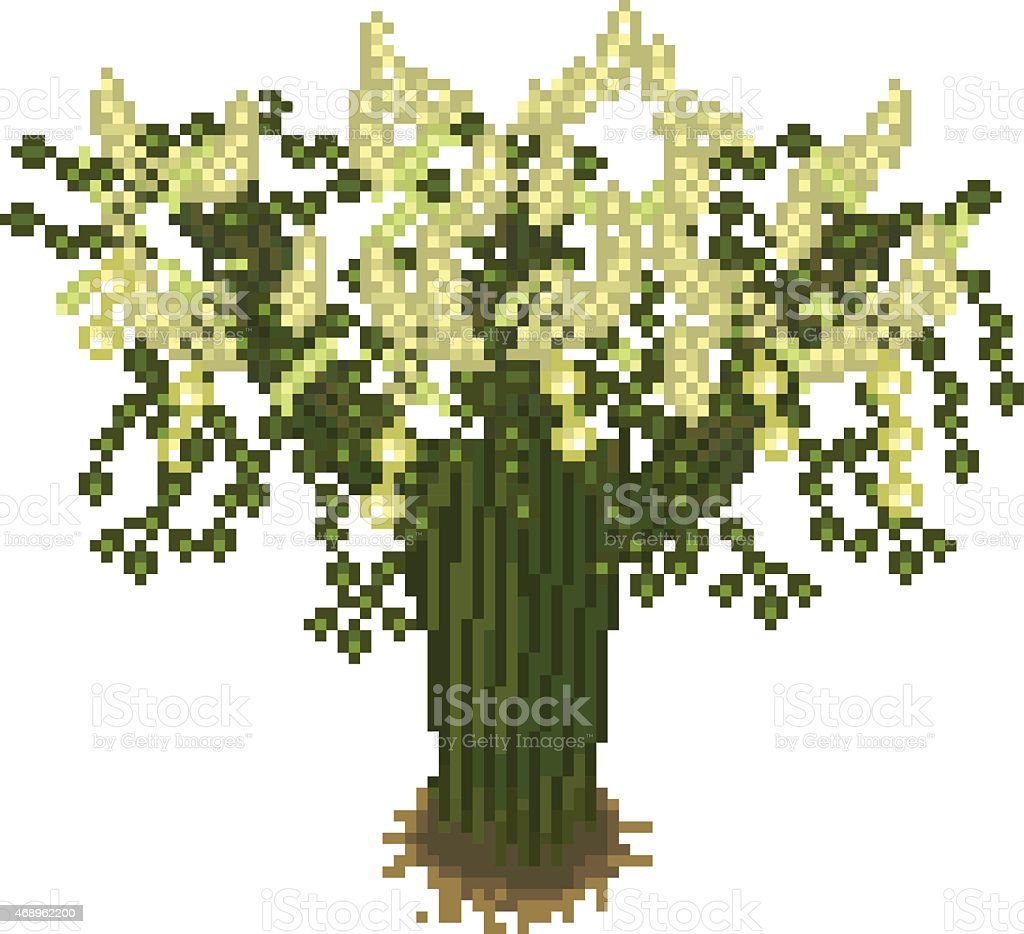 Pixel art tree vector art illustration