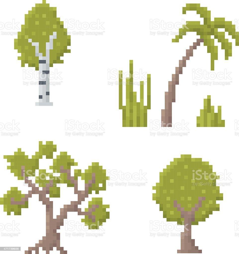 Pixel Art Trees vector art illustration