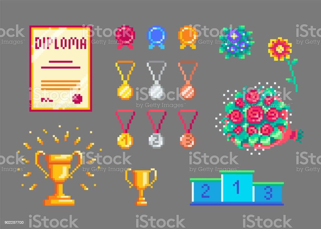 Pixel-Kunst-Pokale und Medaillen-Satz – Vektorgrafik