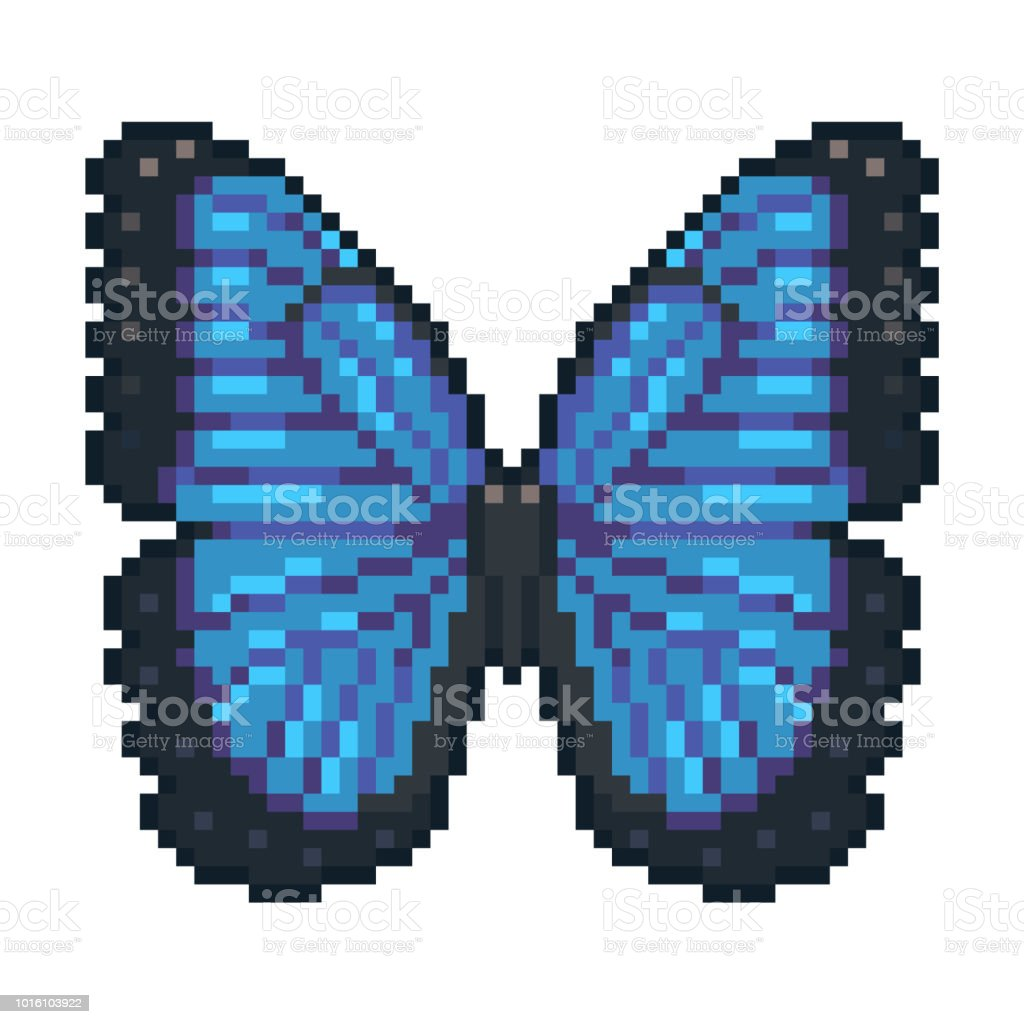 Pixel Art Vector Blue Morpho Butterfly Isolated On White