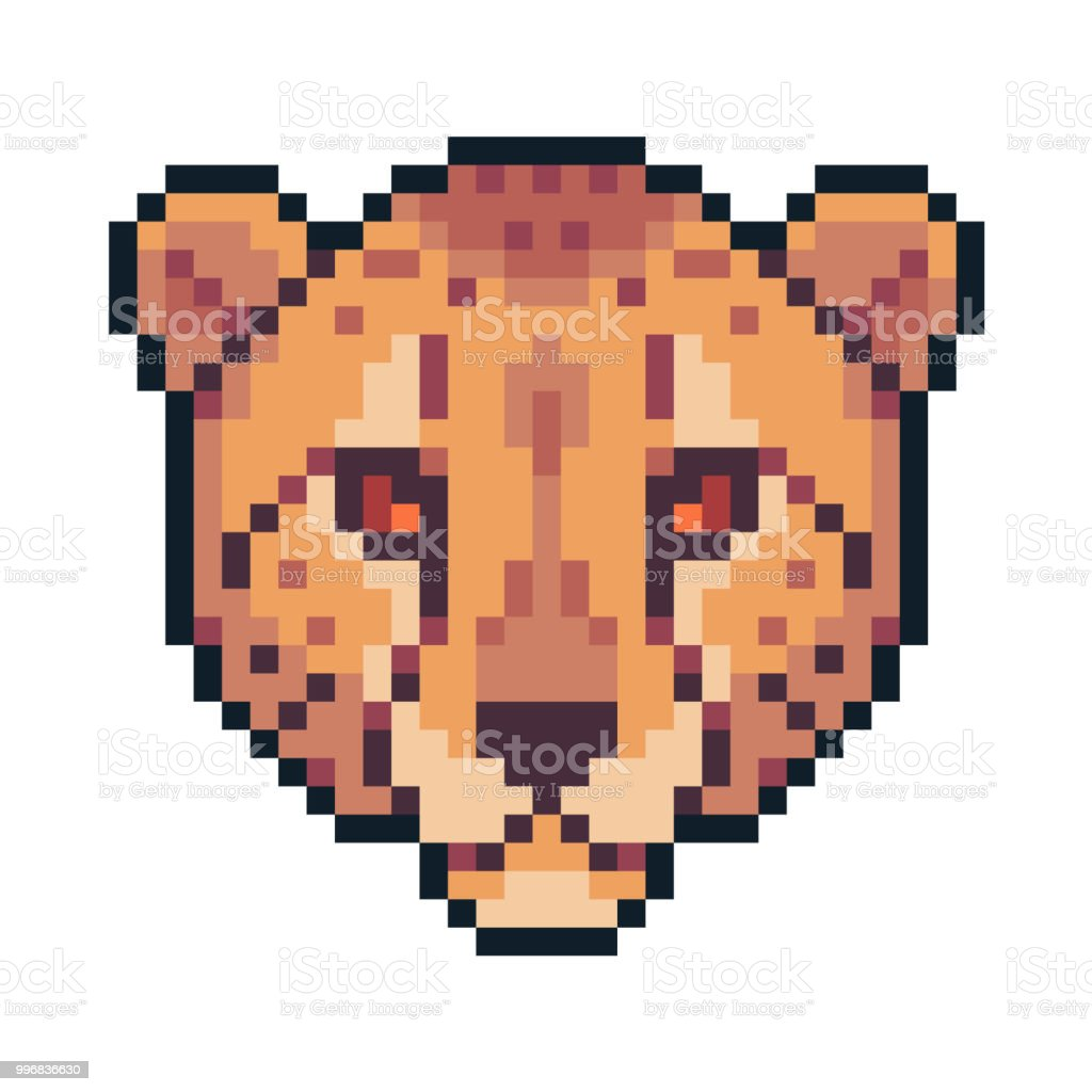 Pixel Art Vector Cheetah Isolated On White Background Stock