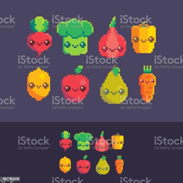 Légumes Mignons Pixel Art Vector Set Telecharger Vectoriel