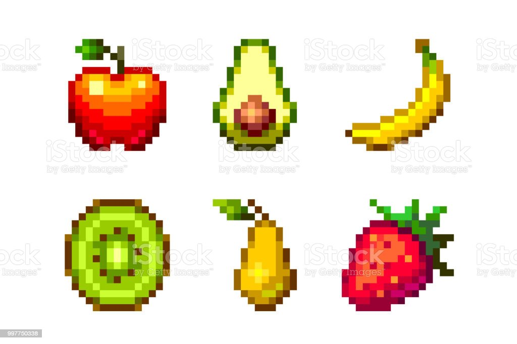 Pixel Art Vector Fruits Set 16x16 Isolated On White Background Stock Illustration Download Image Now Istock
