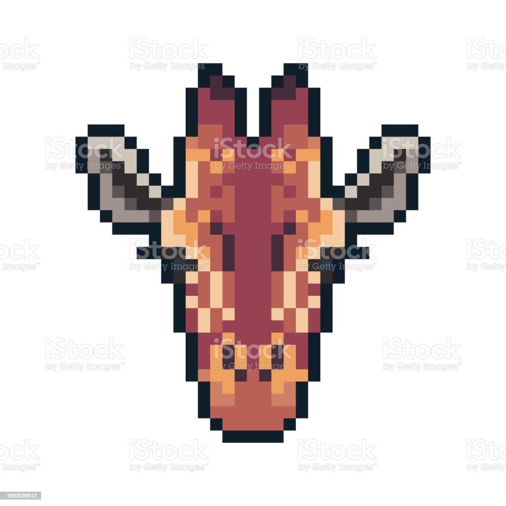 Girafe De Vecteur Pixel Art Isolé Sur Fond Blanc Vecteurs