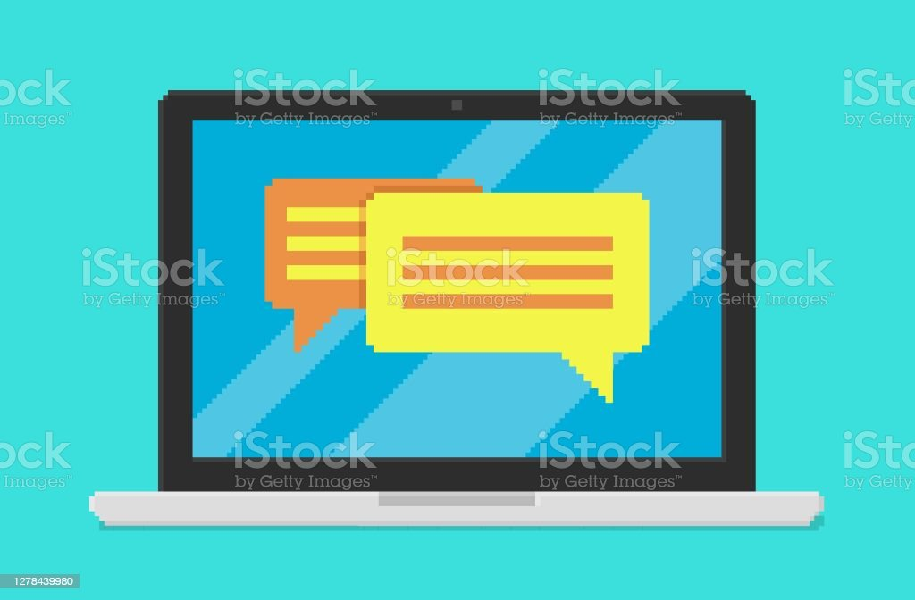 Pixel Art Vector Illustration Of Laptop With Conversation Application On Screen Stock Illustration Download Image Now Istock