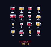 istock Pixel art vector illustration - red, white, rose, cider, mulled wine glasses. Pixel art design vine icons on dark background 1221200759