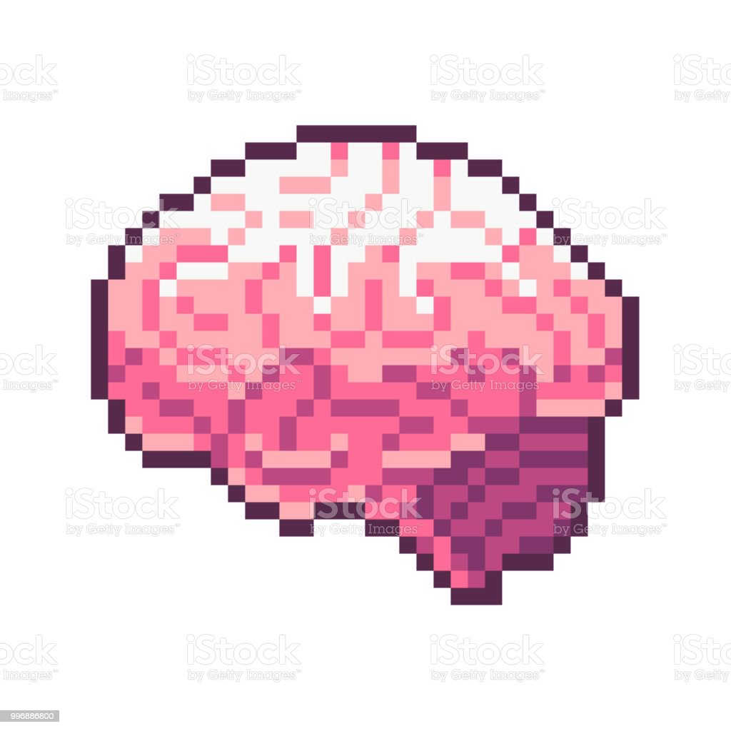Pixel Art Vector Pink Brain Isolated On White Background