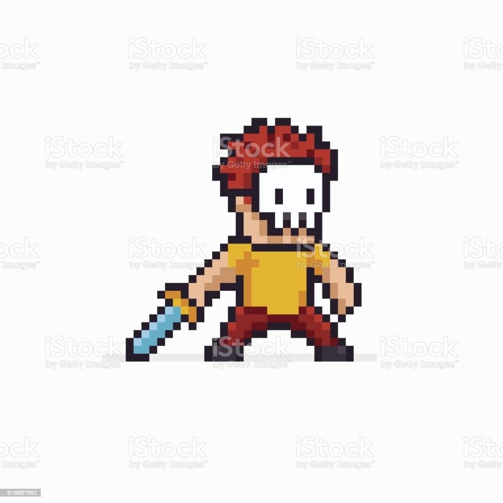 Pixel Art Warrior vector art illustration