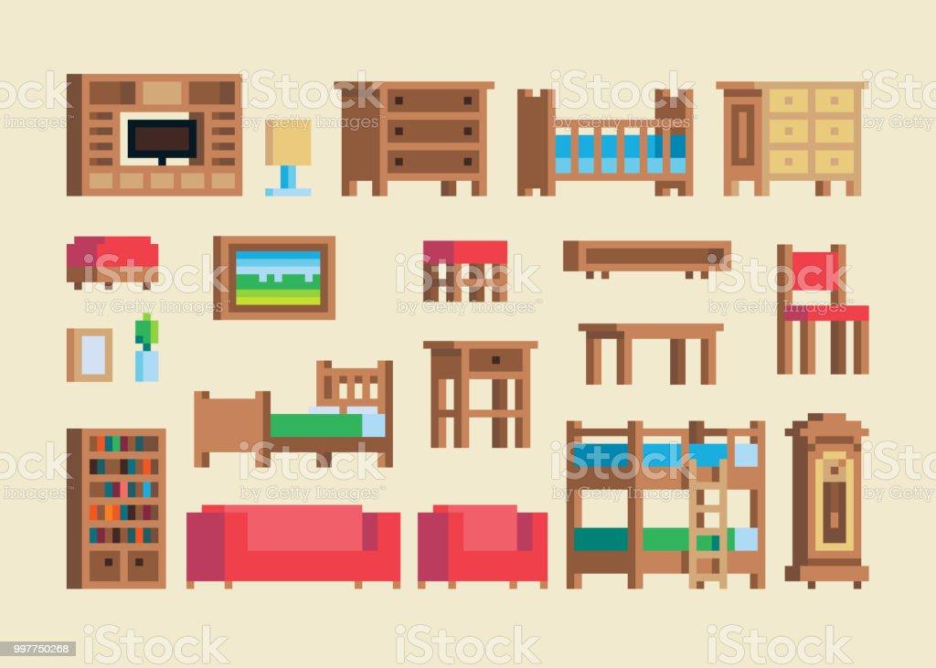 ピクセル アートの木製家具とアクセサリー セットをベクトルします。 ベクターアートイラスト