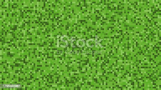 istock Pixel background. The concept of games background. Squares pattern background. Minecraft concept. Vector illustration. Light Green vector abstract textured polygonal background 1295465961