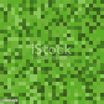 istock Pixel background. The concept of games background. Squares pattern background. Minecraft concept. Vector illustration. Light Green vector abstract textured polygonal background 1295974028