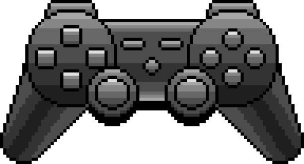 Pixel black game console detailed isolated vector Pixel black game console detailed illustration isolated vector game controller stock illustrations
