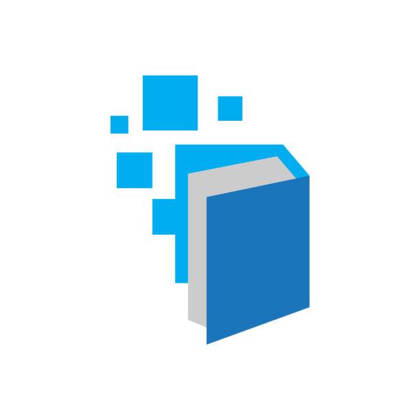 stockillustraties, clipart, cartoons en iconen met pixel boek ebook logo ontwerp vector elektronische bibliotheek pictogram - e learning