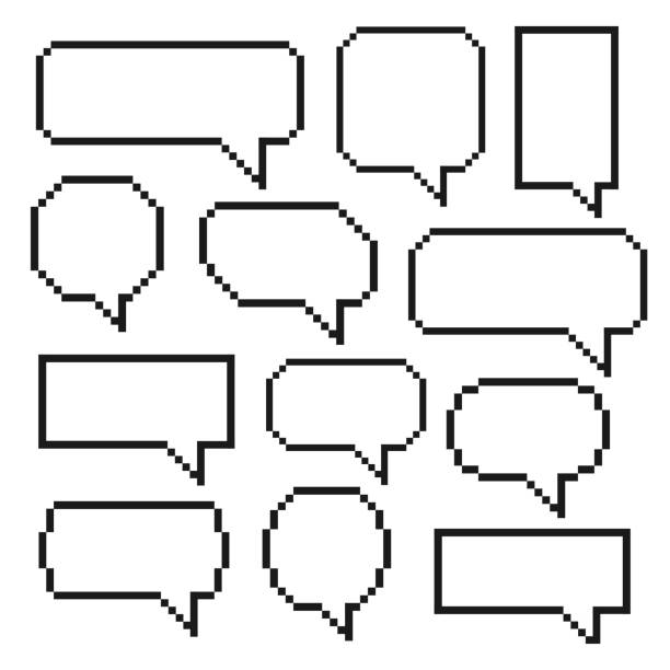 Pixel bubble speech Pixel bubble speech. Set of speech balloons, graphic element for comic books for saying and phrase. Vector flat style cartoon illustration isolated on white background pixelated stock illustrations