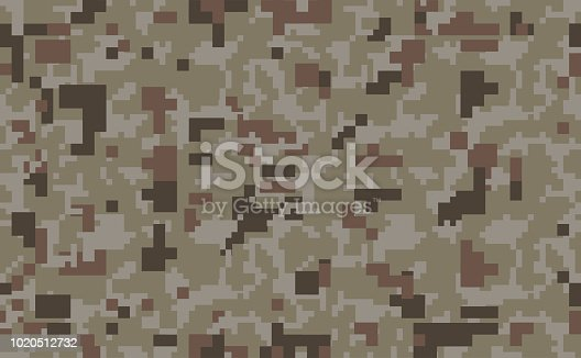 Pixel Camouflage Pattern Background Seamless Vector Illustration