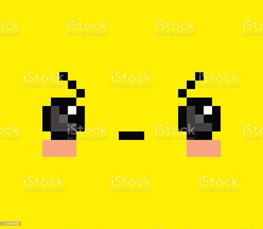 Pixel En Colère De Dessin Animé Visage Isolé Vecteurs Libres De Droits Et Plus Dimages Vectorielles De Abstrait