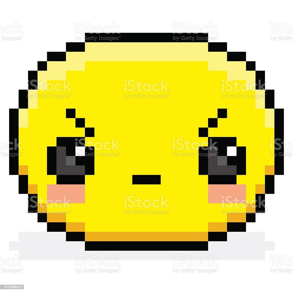 Pixel En Colère De Dessin Animé Visage Isolé Vecteurs Libres