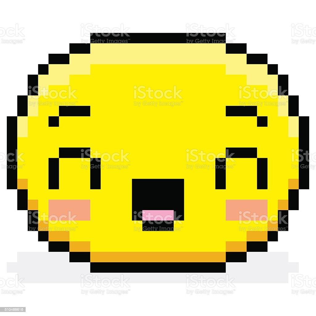 Pixel Visage Heureux En Dessin Animé Isolé Vecteurs Libres