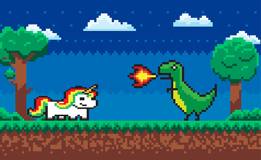 Pixel Character Fight Game Dragon and Unicorn