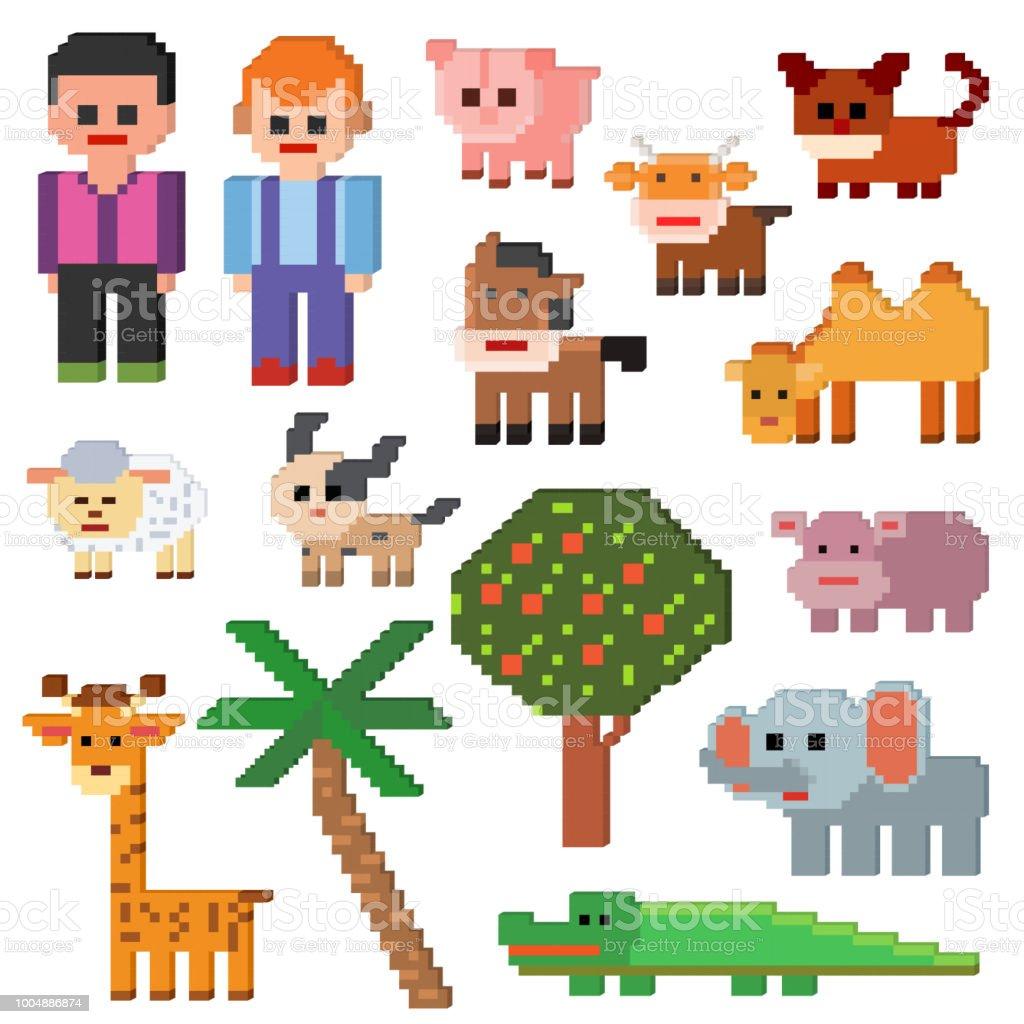 ピクセルの文字ベクトルのファーム動物 pixelart と漫画の犬豚や象の白い背景で隔離の 8 ビット ゲーム イラスト gamification セットの動物的農業標識 ベクターアートイラスト