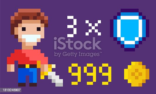istock Pixel Character with Sword, Heroic Man and Icons 1313245907