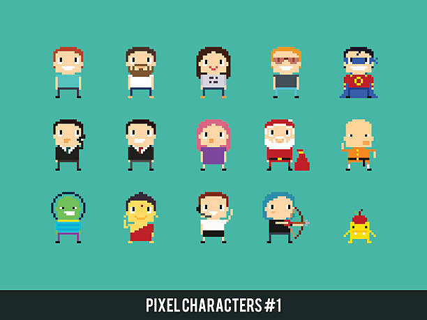 stockillustraties, clipart, cartoons en iconen met pixel characters - call center