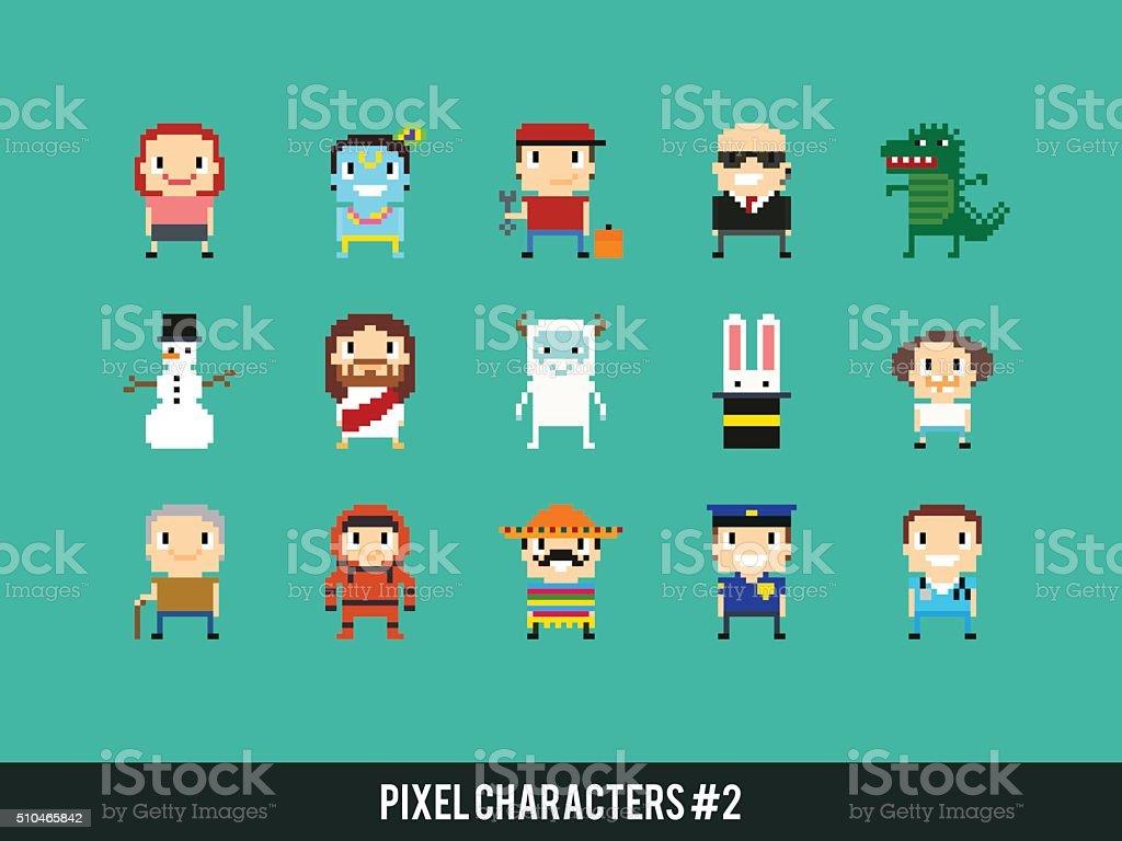 Pixel Characters vector art illustration