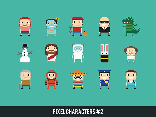 illustrations, cliparts, dessins animés et icônes de pixel caractères - bureau police