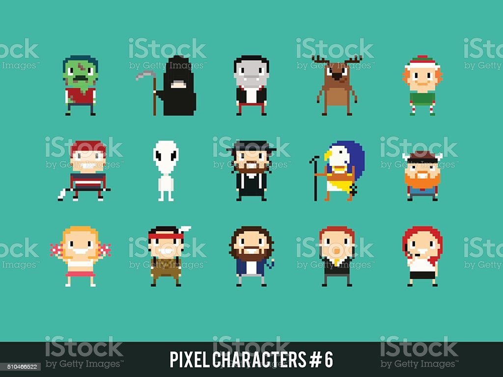 Pixel Characters vector art illustration