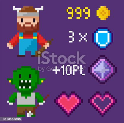 istock Pixel Characters with Points, Troll and Viking 1313487395
