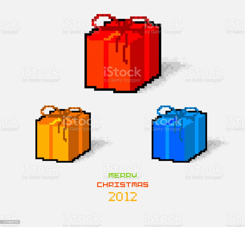 Pixel Christmas Gifts Stock Vector Art & More Images of Christmas ...