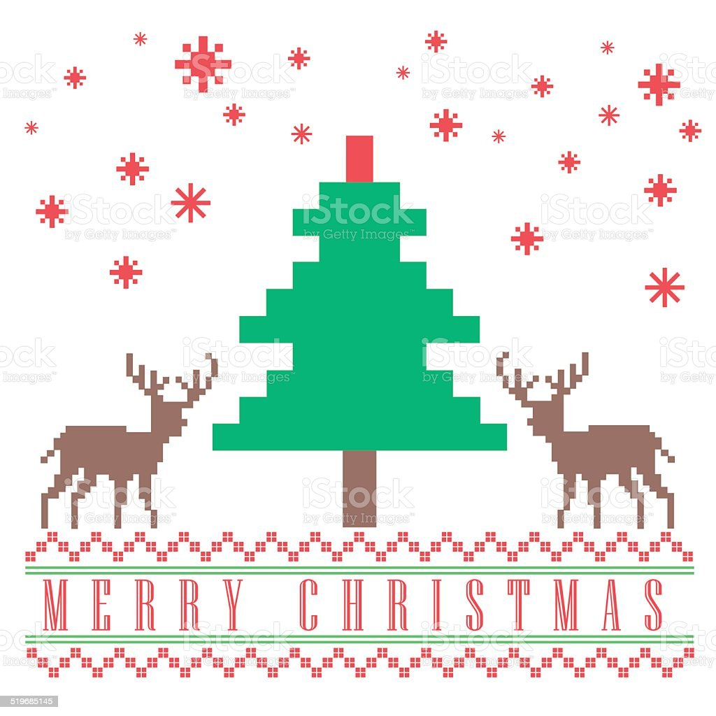 Pixel Christmas Greeting Card Design Stock Vector Art More Images