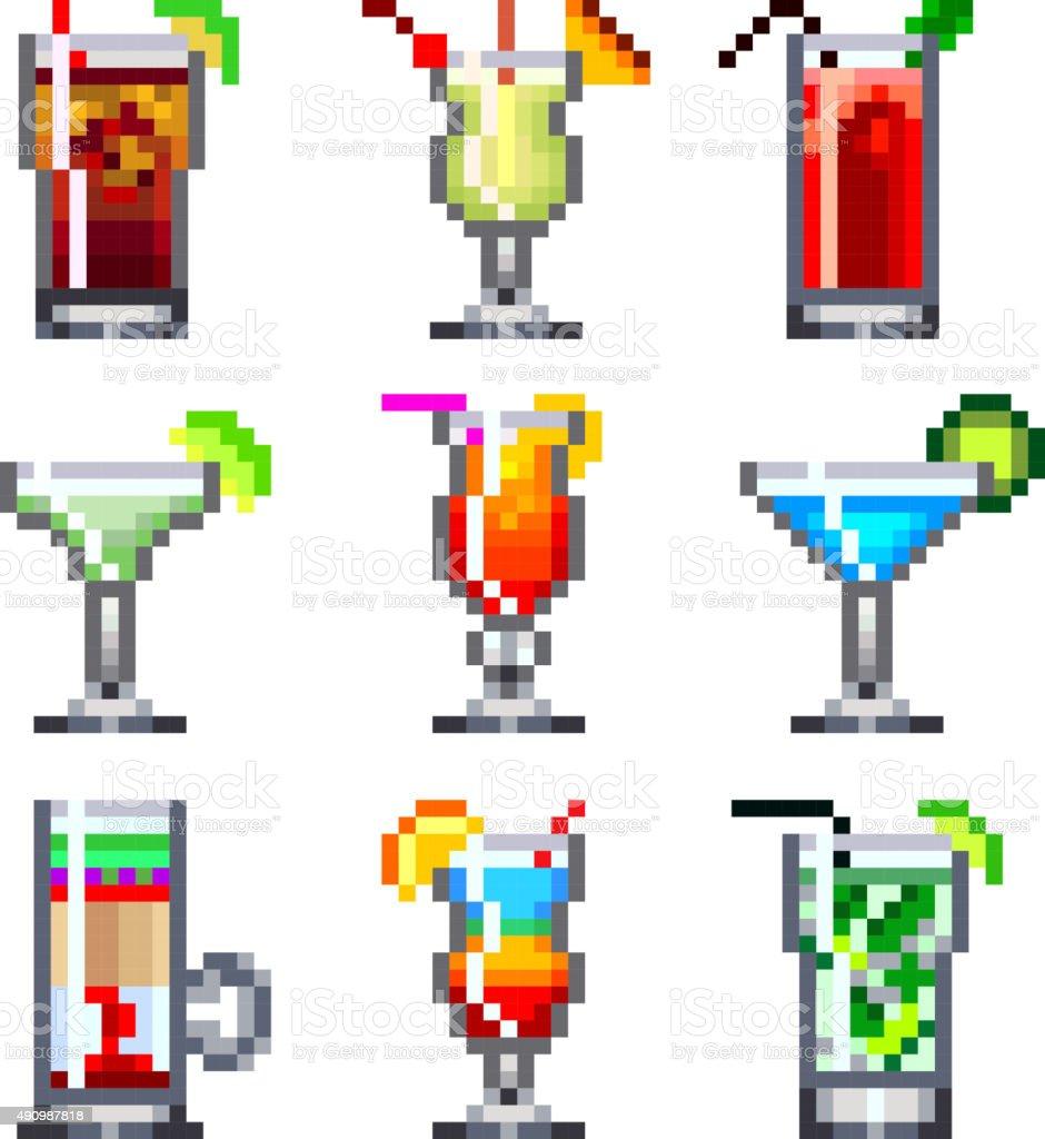 Pixelcocktails Für Spieleicons Vektorset Stock Vektor Art und mehr ...