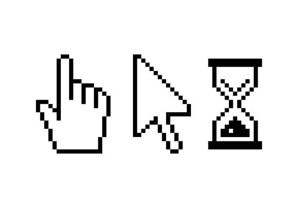 픽셀 컴퓨터 커서 세트 - 커서 stock illustrations