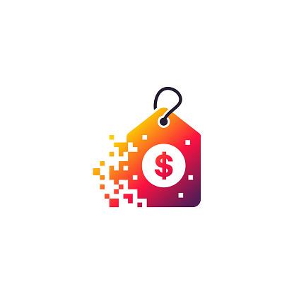 Pixel Coupon logo designs concept vector, Fast Abstract Coupon logo template