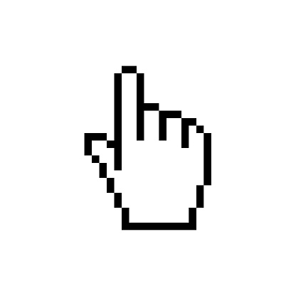 Pixel Cursor icon - Hand. Mouse click. Vector stock illustration