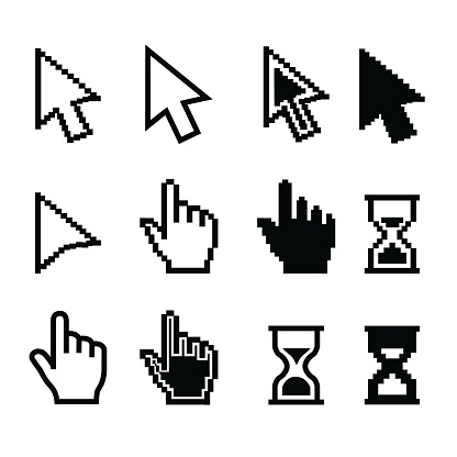 Pixel cursors icons - mouse cursor hand pointer hourglass - Illustration