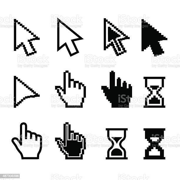 Pixel cursors icons mouse cursor hand pointer hourglass illustration vector id487306396?b=1&k=6&m=487306396&s=612x612&h=j0akbsxfk 6bakvmwqsnguzba kyfpzptbuxvlhwlp8=