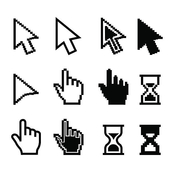 pixel cursors icons - mouse cursor hand pointer hourglass - illustration - 電腦滑鼠 幅插畫檔、美工圖案、卡通及圖標
