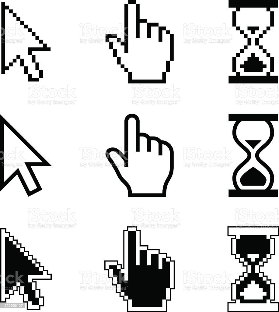 Pixel cursors icons - mouse cursor hand pointer hourglass vector art illustration