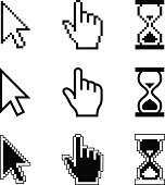 Pixel cursors icons - mouse cursor hand pointer hourglass