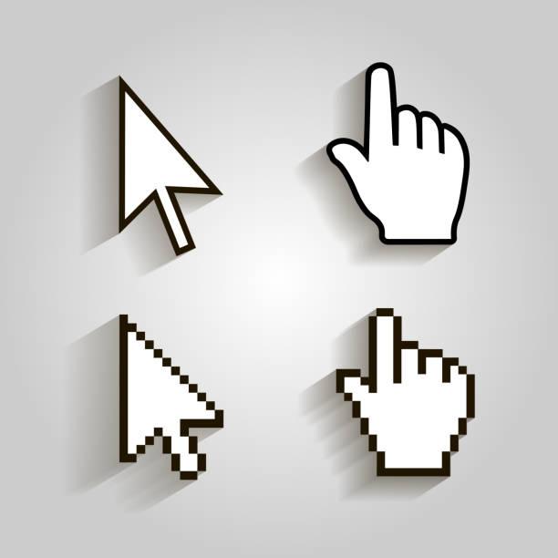 픽셀 커서를 놓고 마우스 왼쪽 화살표 아이콘. 벡터 illstration - 커서 stock illustrations