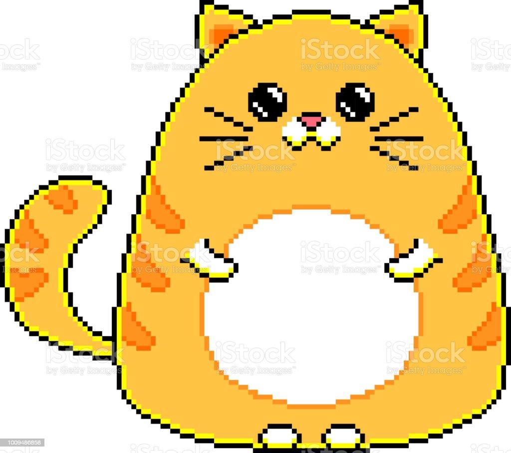 Vector Isolé De Pixel Dessin Animé Mignon Chat Vecteurs