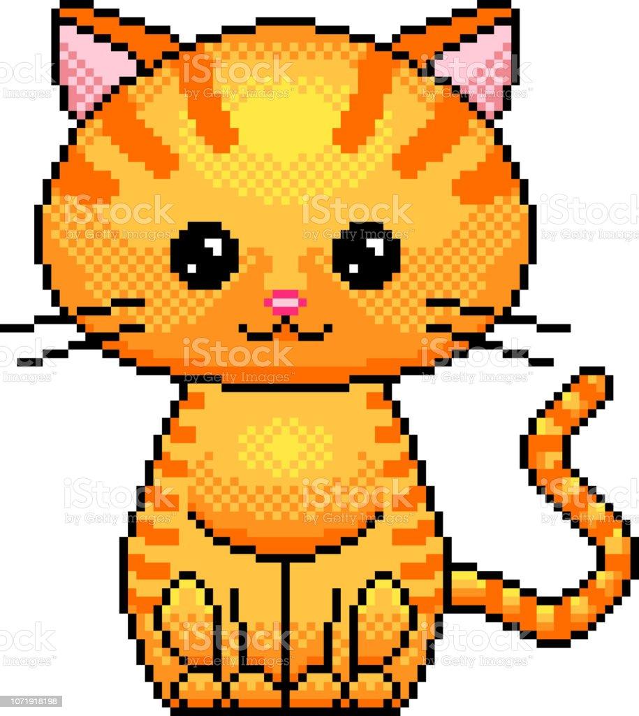 ピクセルかわいい猫詳細イラスト分離ベクトル アイコンのベクターアート素材や画像を多数ご用意 Istock