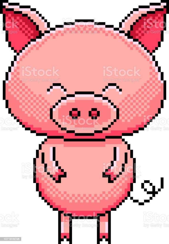 Pixel Mignon De Porc Détaillé Illustration Isolé Vecteur