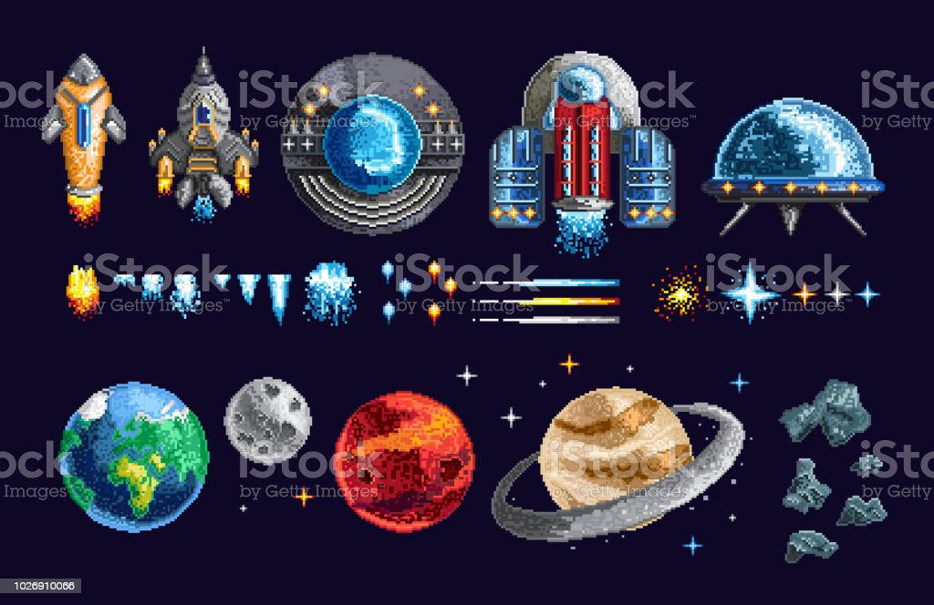 Pixel design of spacecrafts and planets