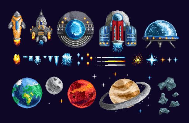 pixel design der raumfahrzeuge und planeten - landscape crazy stock-grafiken, -clipart, -cartoons und -symbole