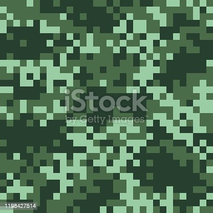 Vector Illustration of a seamless background of a Pixel Digital Hunting or Military Camouflage in Green tonalities colours